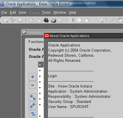 Oracle EBS – Changing Main Form's Heading – Site Name